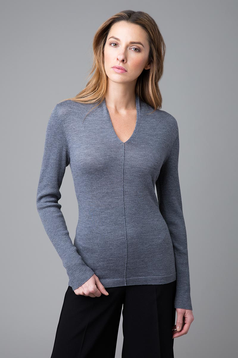 Worsted Gathered Vee Neck - Kinross Cashmere