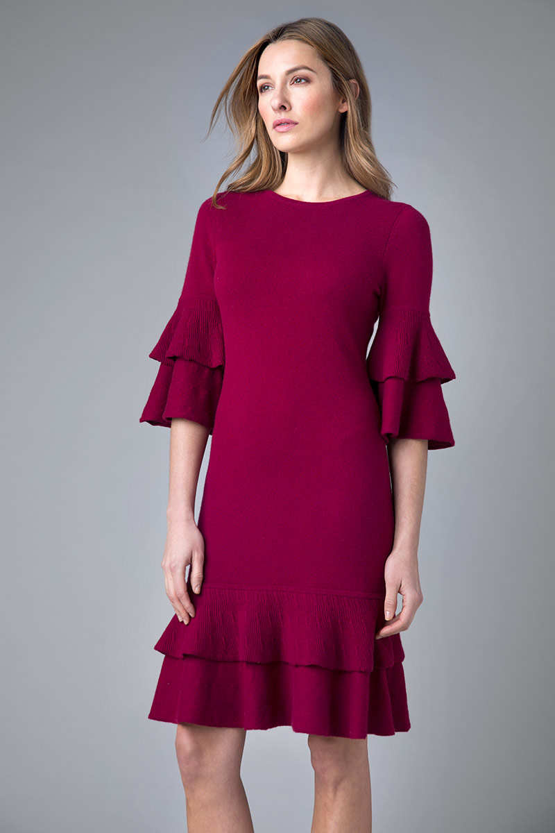 Flounce Party Dress - Kinross Cashmere