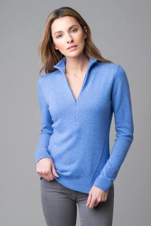 Fitted Zip Mock - Kinross Cashmere