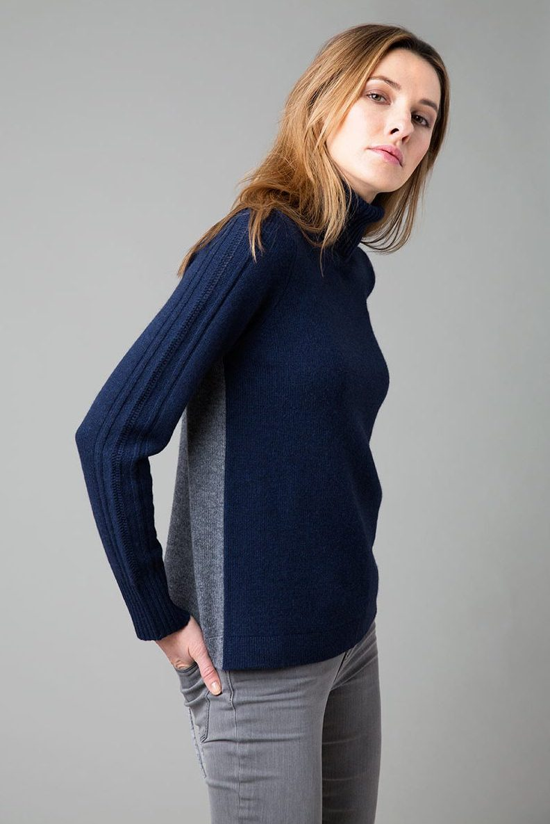Colorblock T-Neck with Lacing - Kinross Cashmere