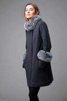 Fur Trim Swing Coat - Kinross Cashmere