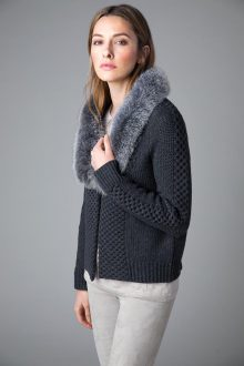 Fur Trim Cable Cardigan - Kinross Cashmere