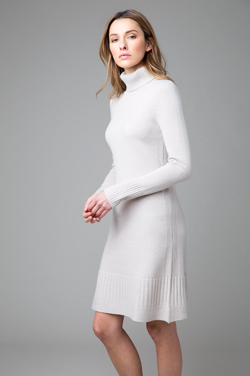 Ruffle Hem Turtleneck Dress - Kinross Cashmere