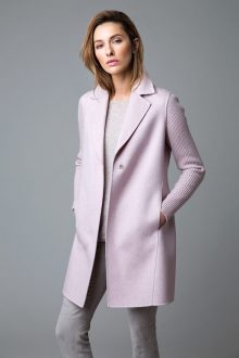 Rib Sleeve Notch Collar Coat - Kinross Cashmere