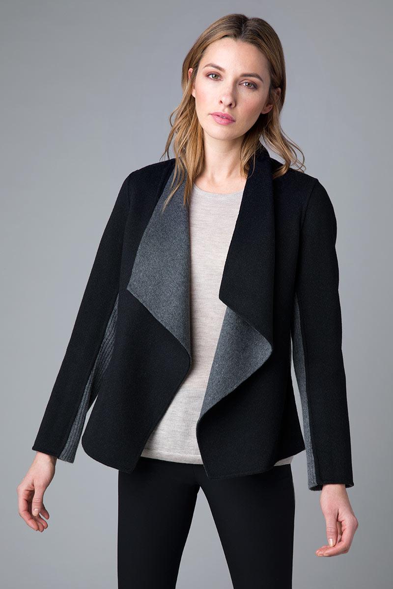Rib Inset Reversible Jacket - Kinross Cashmere