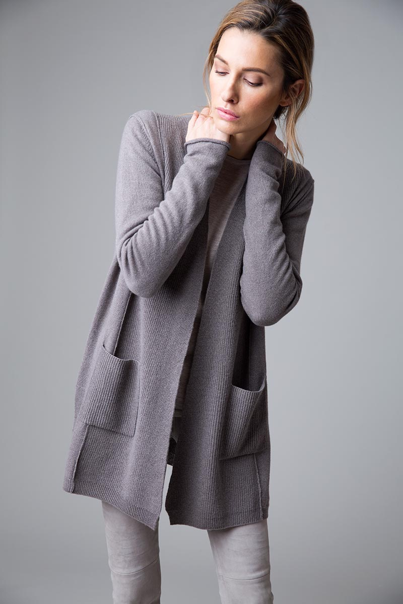 Long Rib Trim Cardigan - Kinross Cashmere