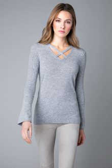 Crossover Neck & Sleeve Vee - Kinross Cashmere
