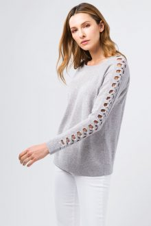 Braided Sleeve Pullover - Kinross Cashmere