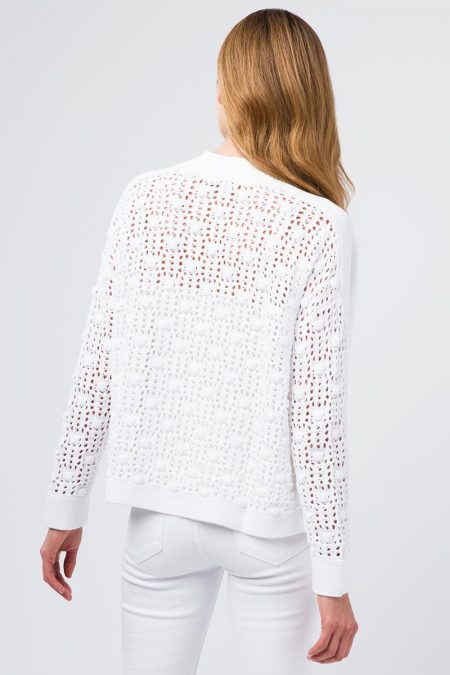 Textured Sleeve Cardigan - Kinross Cashmere