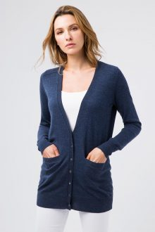 Worsted Button Cardigan - Kinross Cashmere