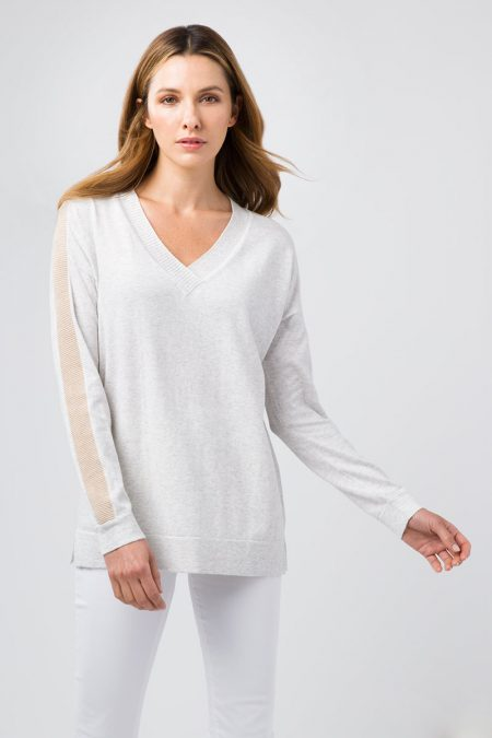 Stripe Sleeve Vee - Kinross Cashmere