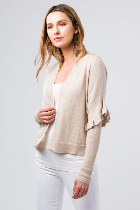 Worsted Ruffle Trim Cardigan - Kinross Cashmere