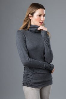 Ruched L/S T-neck - Kinross Cashmere
