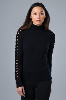 Lattice Sleeve T-neck - Kinross Cashmere