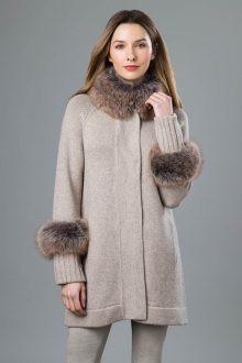 Fur Trim Swing Cardigan - Kinross Cashmere