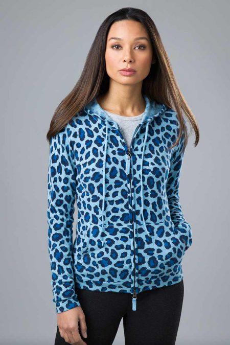 Leopard Print Hoodie - Kinross Cashmere