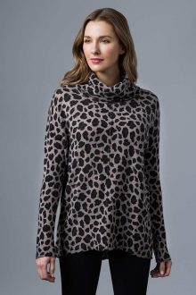 Leopard Print Exposed Seam Cowl - Kinross Cashmere