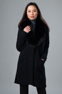 Fur Shawl Collar Knit Cardigan - Kinross Cashmere