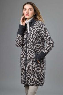 Animal Zip Mock Cardigan - Kinross Cashmere
