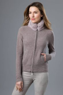 Faux Fur Collar Zip Cardigan - Kinross Cashmere