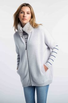 Faux Fur Zip Mock Cardigan - Kinross Cashmere