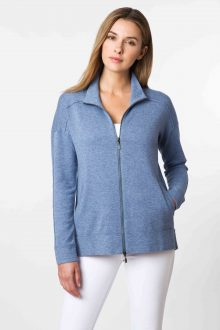 Hi Low Zip Mock Neck Cardigan - Kinross Cashmere