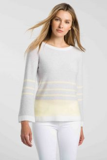 Stripe Bell Sleeve Pullover - Kinross Cashmere