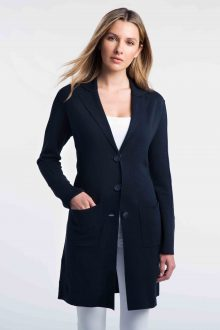 Double Knit Notch Collar Cardigan - Kinross Cashmere
