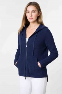 Hooded Zip Cardigan - Kinross Cashmere