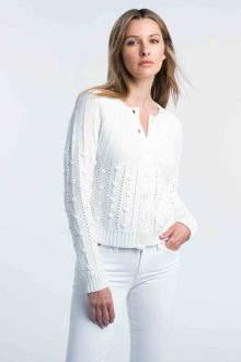 Cropped Bobble Cardigan - Kinross Cashmere