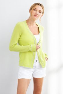 Tipped Vee Cardigan - Kinross Cashmere