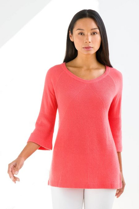 Rib Bell Sleeve Pullover - Kinross Cashmere