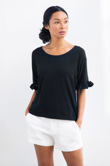 Cotton Pleat Sleeve Pullover - Kinross Cashmere