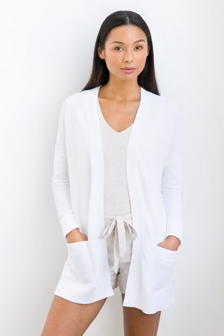 Cotton Garter Stitch Cardigan - Kinross Cashmere