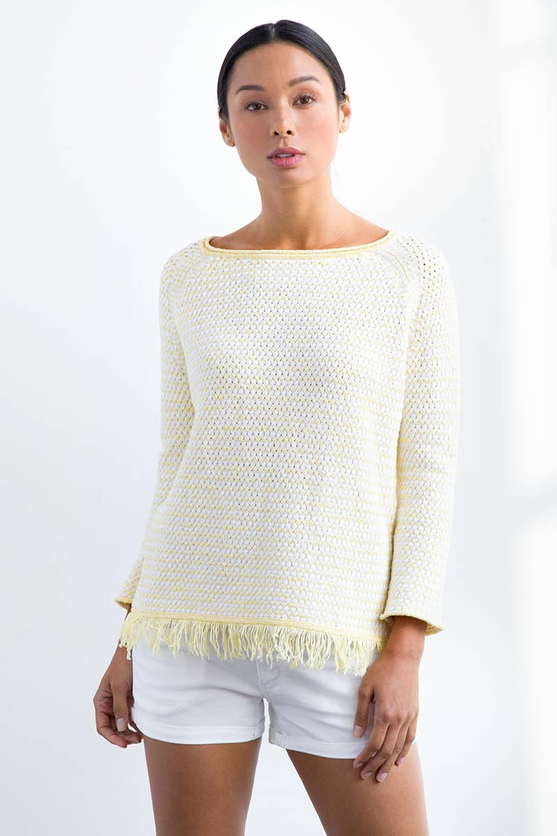 Lattice Fringe Pullover - Kinross Cashmere