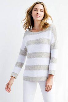 Texture Stripe Boatneck - Kinross Cashmere