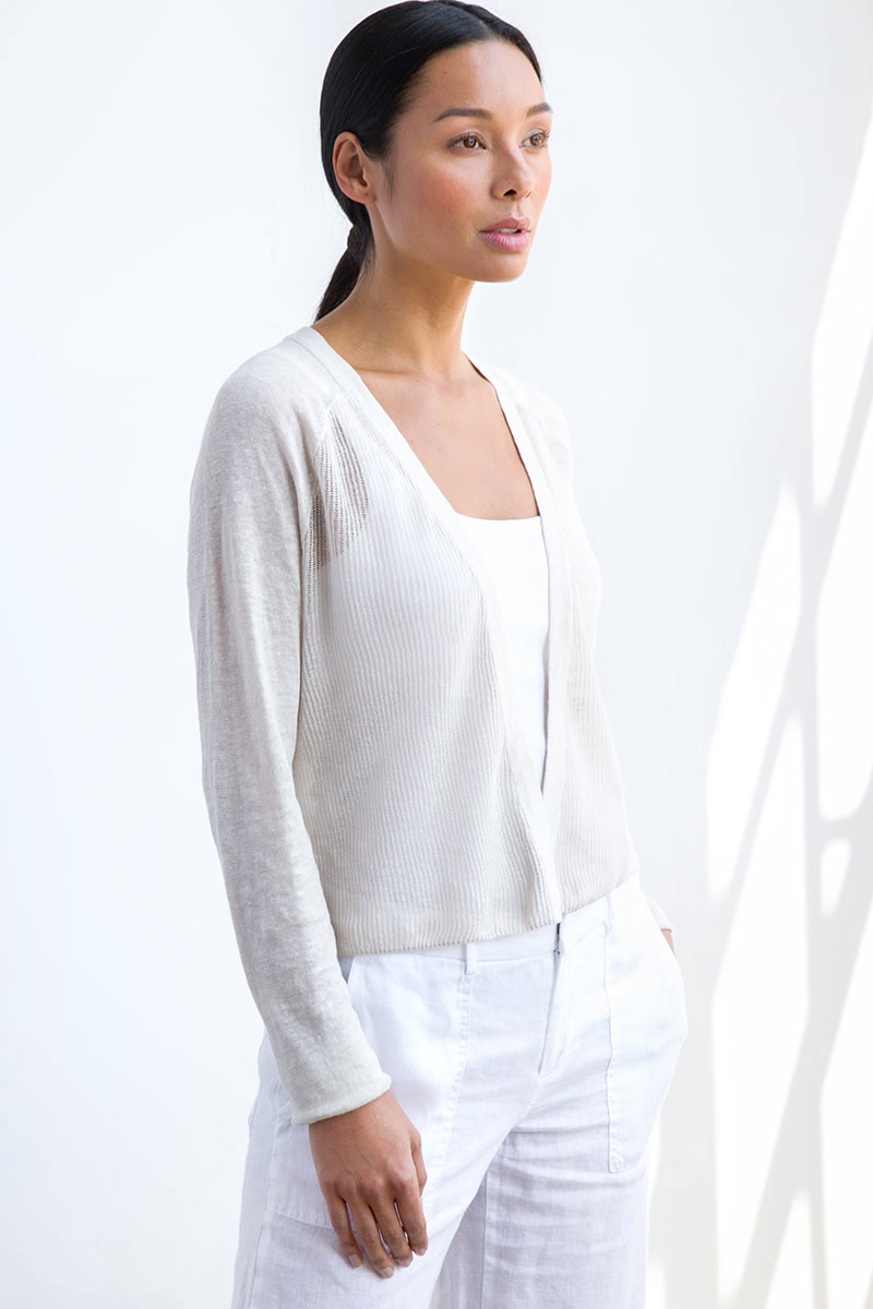 Linen Mesh Stitch Dress Cardigan - Kinross Cashmere
