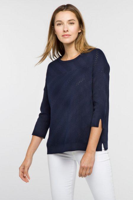 Pointelle Easy Pullover - Kinross Cashmere