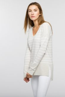 Striped Hi Low Vee - Kinross Cashmere