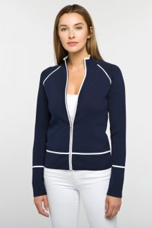 Tipped Zip Mock Cardigan - Kinross Cashmere