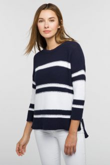 Stripe Hi Low Boatneck - Kinross Cashmere