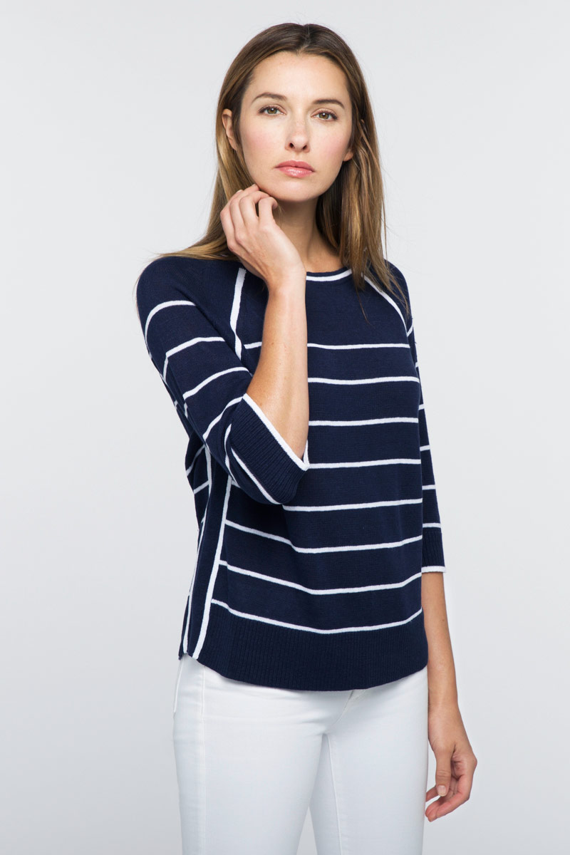 Raglan Stripe Pullover - Kinross Cashmere