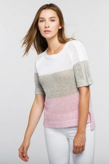 Colorblock Mesh Pullover - Kinross Cashmere