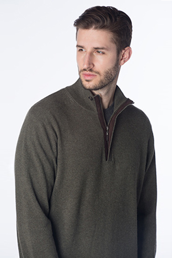 Kinross Cashmere | SUEDE TRIM 1/4 ZIP MOCKNECK W/BUTTON