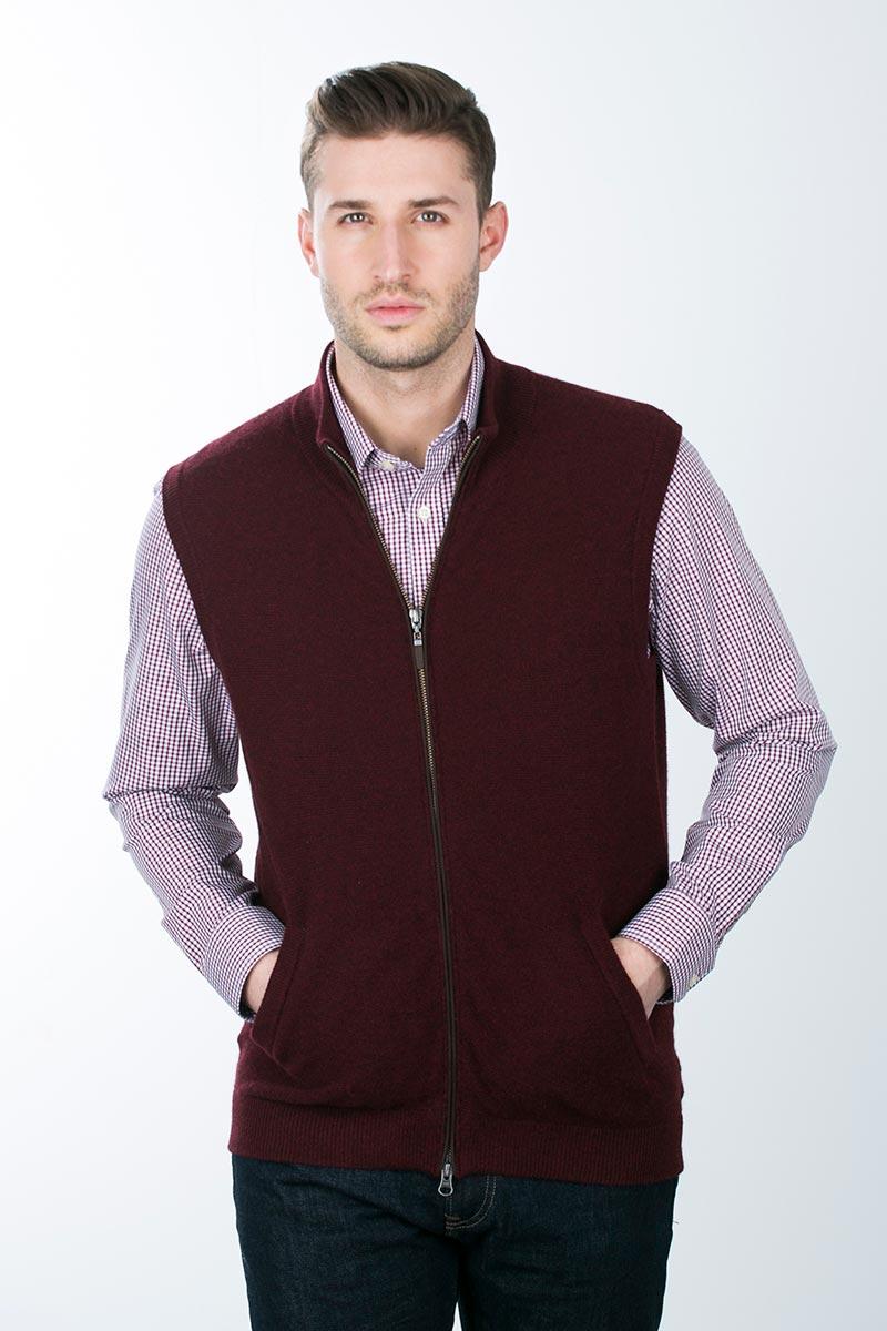Kinross Cashmere | Suede Trim Garter Stitch Vest