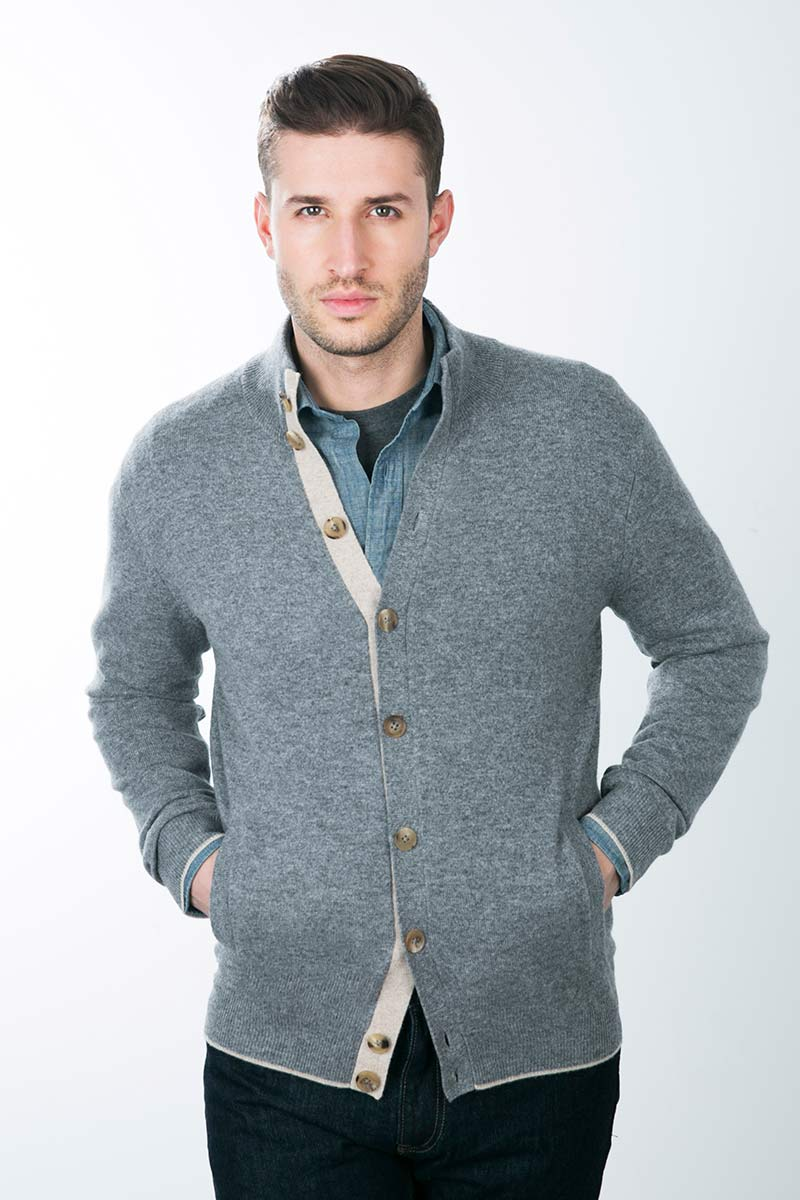 Kinross Cashmere | Mockneck Button Cardigan