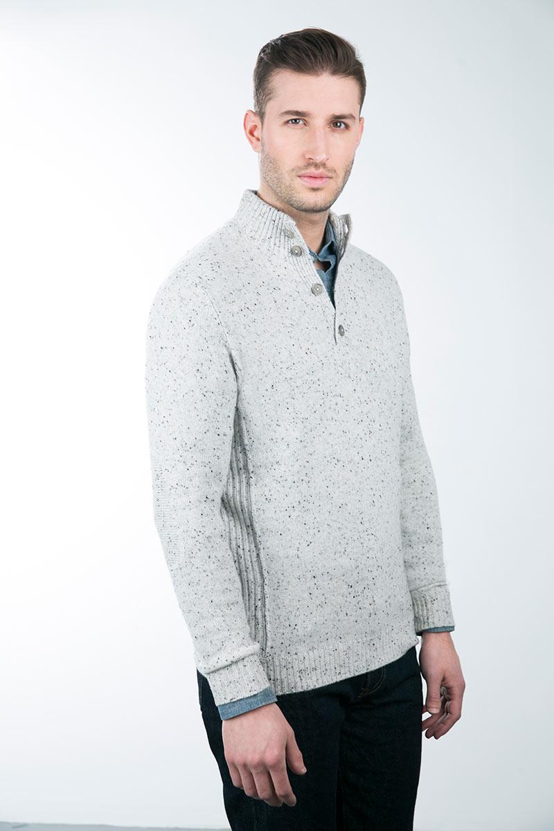 Kinross Cashmere | Tweed Button Mockneck