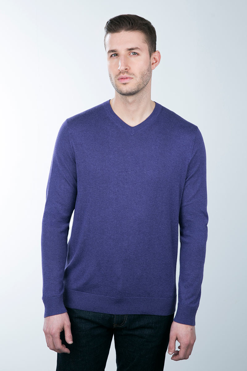 Kinross Cashmere | TUBULAR TRIM V-NECK SCC