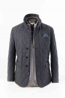 Quilted Field Jacket w/ Suede Trim Kinross Cashmere