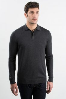 Polo w/ Hidden Button Placket Kinross Cashmere